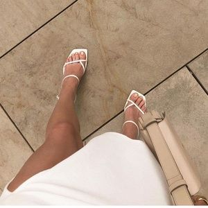 Zara 100% leather square toe white heel sandals